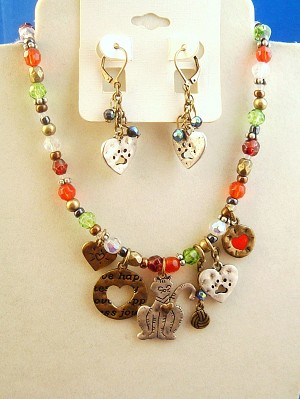 Cat Lovers Set of Necklace & Earrings, Cat, Heart & Paw Pendant Charms, Multicolor Beads, Silver & Bronze Tone Anti-allergic Metal