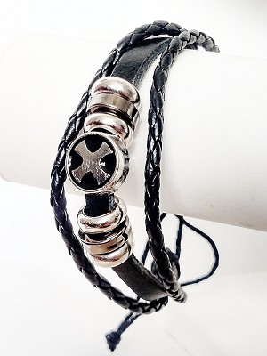 Celtic Cross Multi Layers Black Leather Beach Bracelet Surfer Style, Mens Jewelry