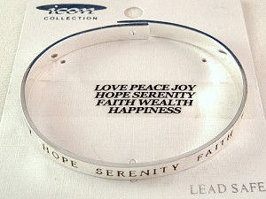 Christian Love & Faith Inspirational Bangle Bracelet, Silver Finish Metal, Anti-allergic Jewelry