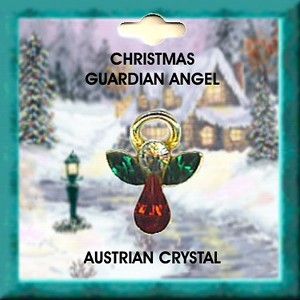 Large Christmas Angel Pin Gold Plated, Genuine Austrian Crystals