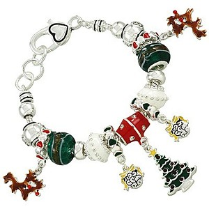 Christmas Theme Pandora Inspired Charm Bracelet, Silver Plated
