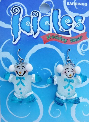 Christmas Turquoise Blue Snowman Holiday Hook Earrings