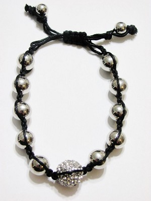 Clear Diamond Silver Ball Beads Shamballa Bracelet