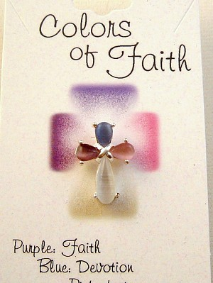 Colors of Faith Cross Pin, Purple, Blue, Pink & White Genuine Austrian Crystals, Silver Finish Metal