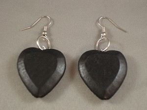 Contemporary Black Wood Large Heart Earrings