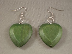 Contemporary Green Wood Large Heart Earrings