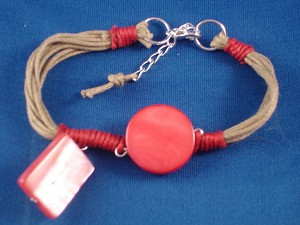 Contemporary Red Cotton Bracelet, Shell & Wood Charm