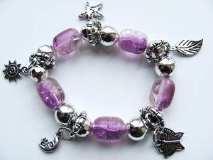 Crazy Silver Charms Purple Stretching Bracelet, Butterfly Moon Starfish Leaf Sun