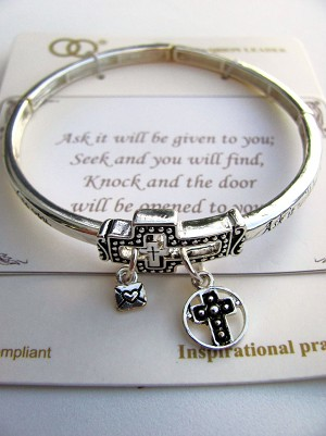Cross Charm Bracelet, Inspirational Message Stretching Silver Bangle
