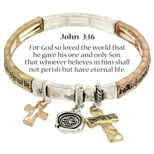 Cross Charm Bracelet John 3:16 Inspirational Message, Three-tone