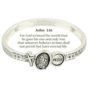 Cross Fish Jesus Bracelet John 3:16 Inspirational Message, Silver