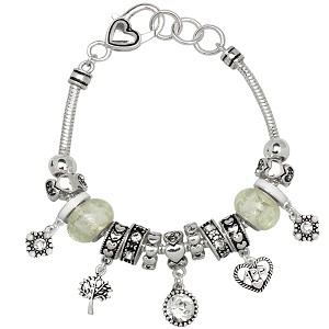 Crystal April Birthstone Charm Bracelet Murano Beads, Pandora Style Inspired
