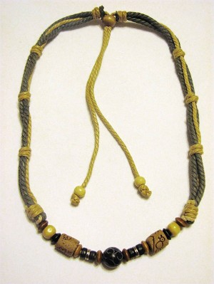 Desert Green Beach/Surfer Style Beaded Adjustable Necklace, Wooden & Stone Beads
