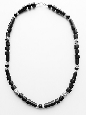 Doom Beach Beaded Necklace Black, Men`s Surfer Style Jewelry