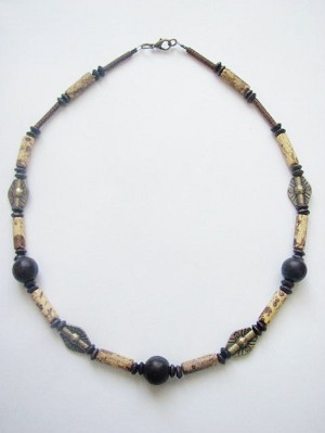Dune Print Men's Surfer Style Beaded Necklace, Beach Choker