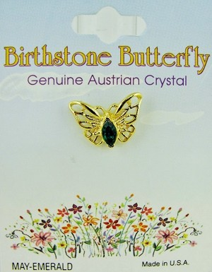 Emerald-May Birthstone Butterfly Pin Gold Tone, Genuine Austrian Crystal