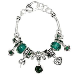 Emerald May Birthstone Charm Bracelet Murano Beads
