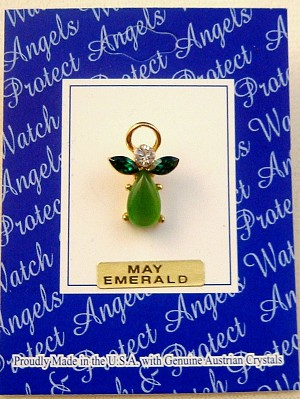 Emerald-May Birthstone Angel Pin, Genuine Austrian Crystals, Gold Finish Metal