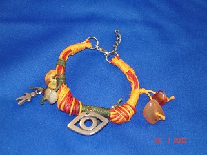 Evil Eye Charm Contemporary Bracelet with Genuine Stones & Orange Cotton Cord