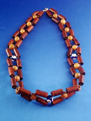 Evil Eye Necklace, Two Layers Cylinder Brown Wooden Beads
