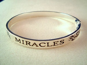 Expect Miracles Inspirational Bangle Bracelet, Silver Finish Metal, Anti-allergic Jewelry
