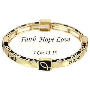 Faith Hope Love Bracelet, 1 Cor 13:13 Inspirational Message Gold