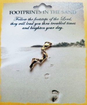 Follow Footprints of The Lord Inspirational Pin, Gold Tone Metal