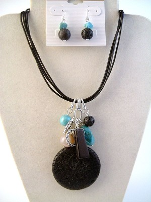 Genuine Air Black Stone Pendant & Turquoise Necklace Earrings Jewelry Set