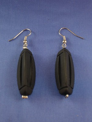 Genuine Black Graphite Stones Contemporary 3D Triangle Earrings