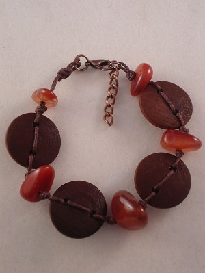 Genuine Carnelian Stone & Wood Contemporary Bracelet, Wooden Beads