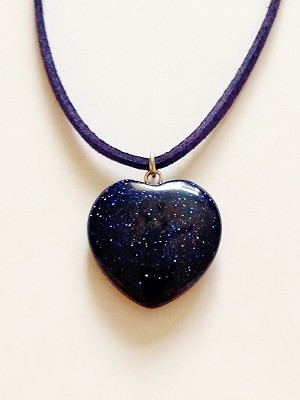 Genuine Violet Night Moonstone Heart Pendant Summer Beach Necklace