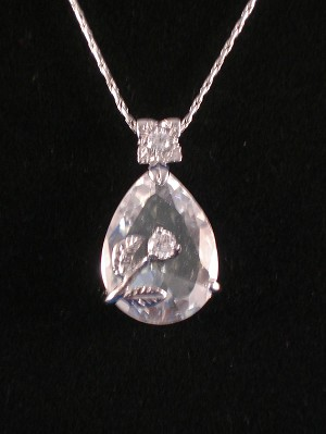 "Genuine White CZ Stones Necklace, 1"" Crystal Rose Pendant, 16"" Chain"