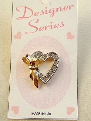 Gold Ribbon Heart Pin, Two-tone Silver, Clear Diamond Crystal