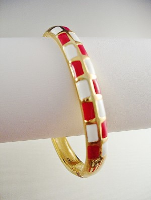 Gold Tone Bangle Bracelet, Red White Squares Ornament