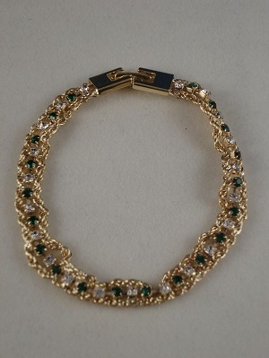 Gorgeous Austrian Green & White Crystals Bracelet, Cold Inspired Color, Anti-allergic Jewelry