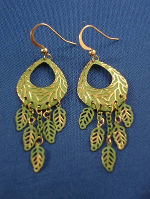Green Tree Ornament & Leaf Charms Dangling Earrings, Gold Tone Anti-allergic Metal