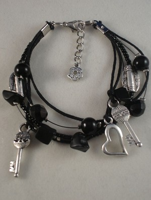 Heart Flower Key Charm Contemporary Bracelet, Black Onyx Genuine Stones