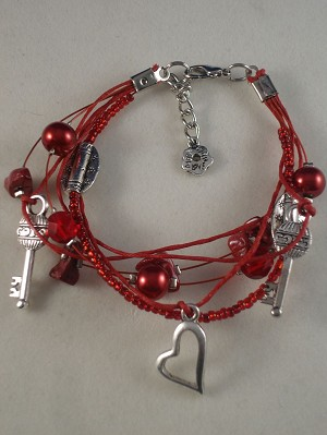 Heart Flower Key Charm Contemporary Bracelet, Red Coral Genuine Stones