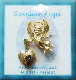 Heart Locket Gold Guardian Angel Pin August Birthstone-Peridot, Genuine Austrian Crystal