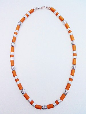 Jamaica Voodoo Beaded Beach Necklace, Men's Surfer Style Rusty Brown Two-tone