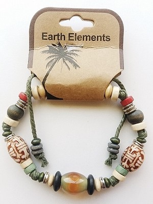 Key West Beach Earth Elements Bracelet, Spiritual Beaded Surfer Men's Jewelry