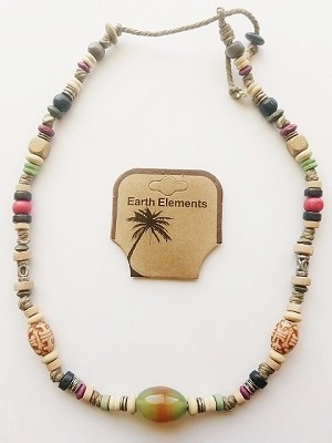 Key West Beach Earth Elements Necklace, Spiritual Beaded Surfer Men's Jewelry