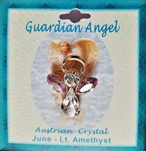 Large Alexandrite June Birthstone Guardian Angel Pin, Genuine Austrian Crystals