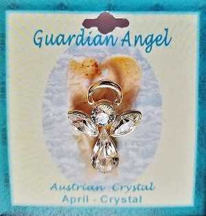 Large Crystal April Birthstone Guardian Angel Pin, Genuine Austrian Crystals