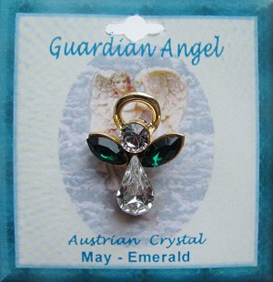 Large Emerald May Birthstone Guardian Angel Pin, Genuine Austrian Crystals