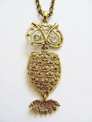 "Large Gold Owl Pendant 32"" Chain Necklace"