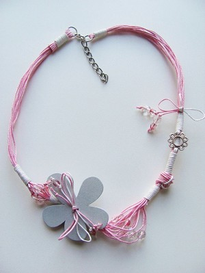 Large Pink Flower Summer Necklace, Cotton & Wood