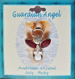 Large Ruby July Birthstone Guardian Angel Pin, Genuine Austrian Crystals