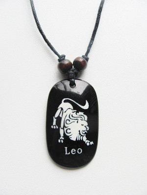 Leo Zodiac Sign Pendant Beach Men's Adjustable Necklace, Unisex Surfer Style Jewelry