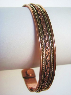 Magnetic Copper Cuff Bracelet Two-tone Ornament, Arthritis Natural Cure